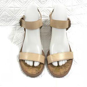 Sam Edelman leather sandals gold block heels 8M